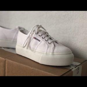 BRAND NEW white Superga platform sneaker